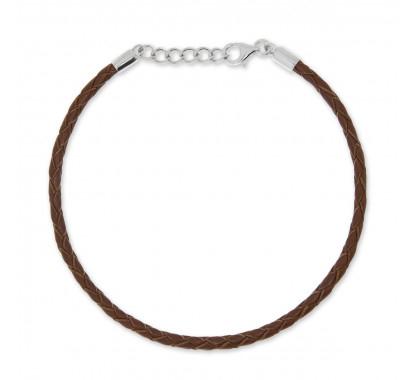 Bransoletka Beads by Briju zapięcie z zawieszką, brązowa skóra