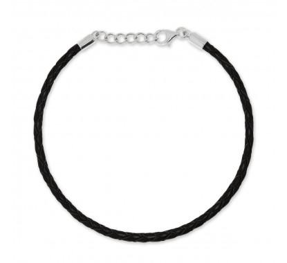 Bransoletka Beads by Briju zapięcie z zawieszką, czarna skóra